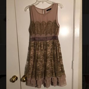Boutique Brown Lace Dress